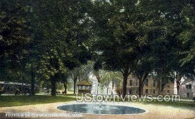 Fountain on Common - Leominster, Massachusetts MA Postcard