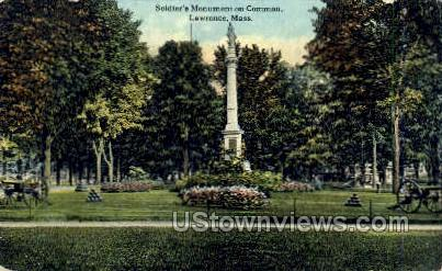 Soldier's Monument & Common - Lawrence, Massachusetts MA Postcard