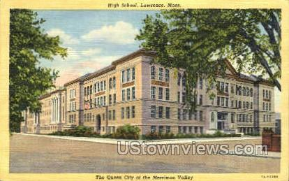 High School - Lawrence, Massachusetts MA Postcard