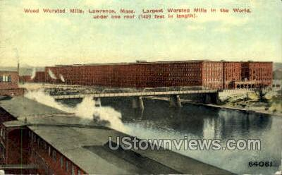 Wood Worsted Mills - Lawrence, Massachusetts MA Postcard