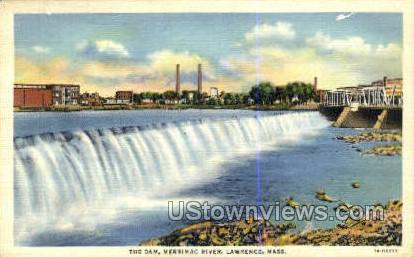 The Dam, Merrimac River - Lawrence, Massachusetts MA Postcard