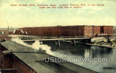 Wood Worsted Mills - Lawrence, Massachusetts MA Postcard