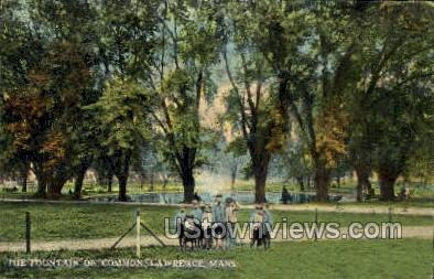 The Fountain, Common - Lawrence, Massachusetts MA Postcard