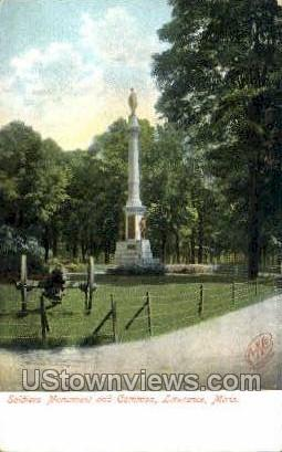 Soldiers Monument & Common - Lawrence, Massachusetts MA Postcard