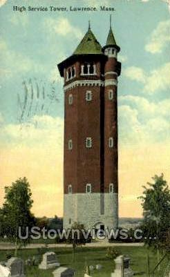 High Service Tower - Lawrence, Massachusetts MA Postcard