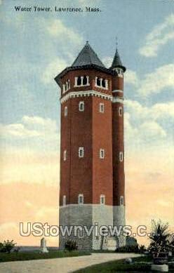 Water Tower - Lawrence, Massachusetts MA Postcard