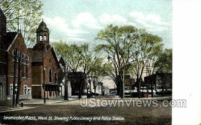 Police Station, West ST. - Leominster, Massachusetts MA Postcard