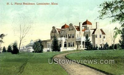 H.L. Pierce Residence - Leominster, Massachusetts MA Postcard