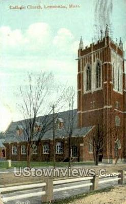 Catholic Church - Leominster, Massachusetts MA Postcard