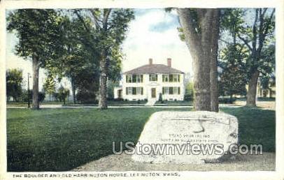The Boulder & Old Harrington House - Lexington, Massachusetts MA Postcard