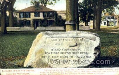 Lexington Green Boulder - Massachusetts MA Postcard
