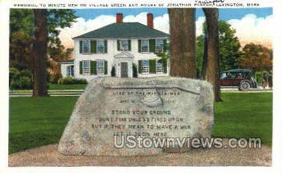 Memorial to Minute Men - Lexington, Massachusetts MA Postcard