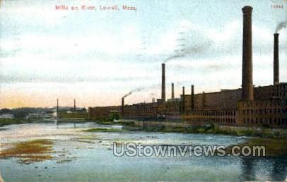 Mills, River - Lowell, Massachusetts MA Postcard