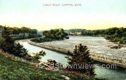 Canal Walk - Lowell, Massachusetts MA Postcard