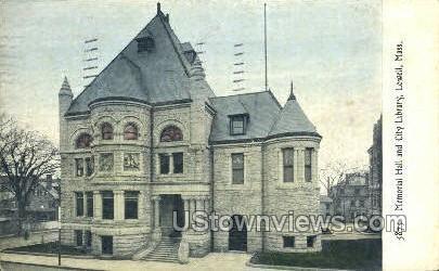 Memorial Hall - Lowell, Massachusetts MA Postcard