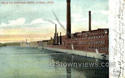 Mills, Merrimac River - Lowell, Massachusetts MA Postcard
