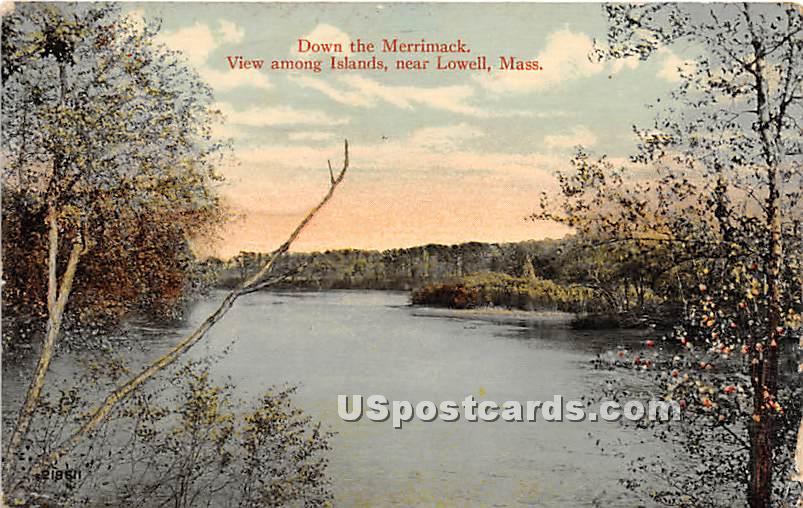 Down the Merrimack among Islands - Lowell, Massachusetts MA Postcard