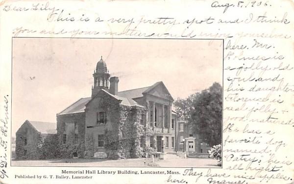 Memorial Hall LibraryLancaster, Massachusetts Postcard
