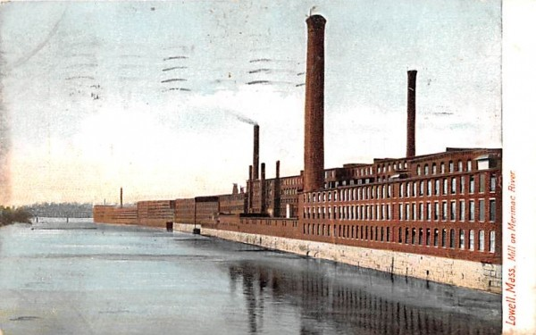Mill and Merimac RiverLowell, Massachusetts Postcard