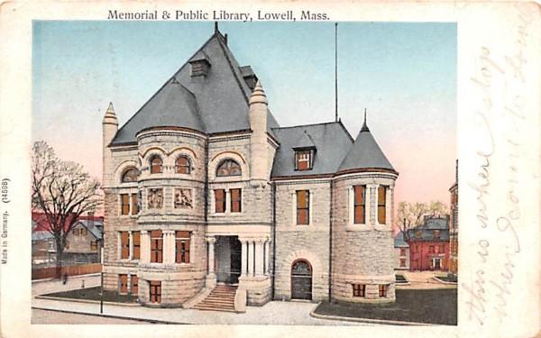 Memorial & Public LibraryLowell, Massachusetts Postcard
