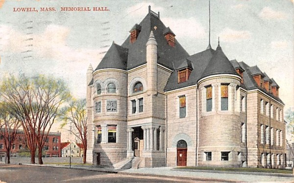 Memorial Hall Lowell, Massachusetts Postcard
