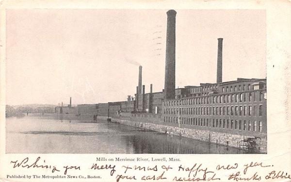Mills on Merrimac RiverLowell, Massachusetts Postcard