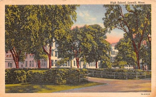 High School Lowell, Massachusetts Postcard