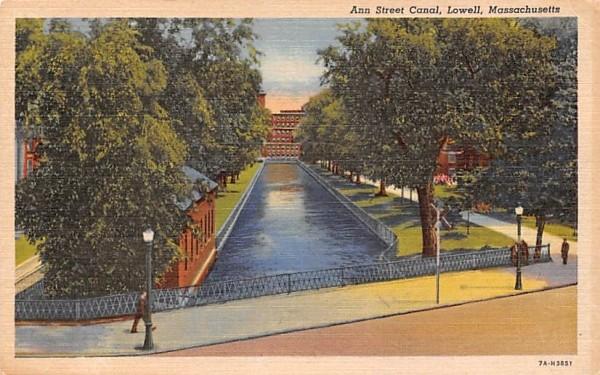 Ann Street Canal Lowell, Massachusetts Postcard