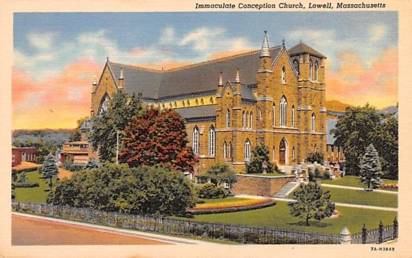 Immaculate Conception Church Lowell, Massachusetts Postcard