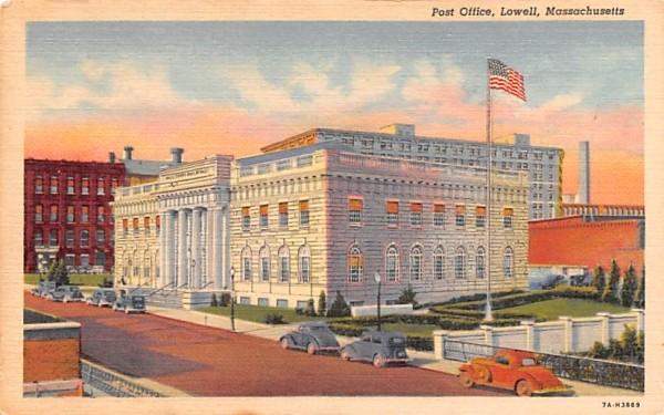 Post Office Lowell, Massachusetts Postcard
