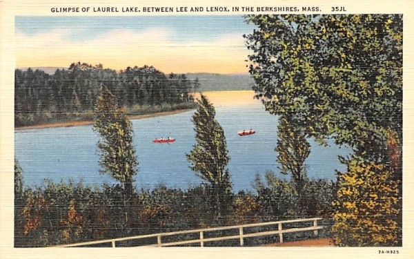 Glimpse of Laurel Lake Lenox, Massachusetts Postcard