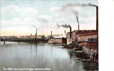 The Mills from Duck Bridge Lawrence, Massachusetts Postcard