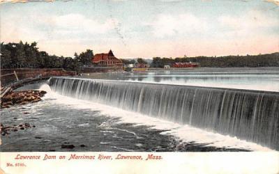 Lawrence Dam on Marrimac River Massachusetts Postcard