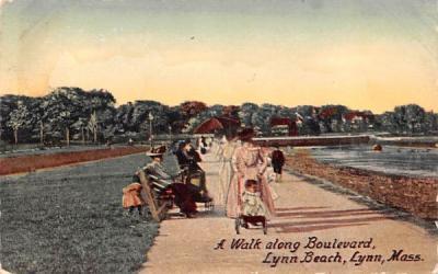 A Walk along Boulevard Lynn, Massachusetts Postcard