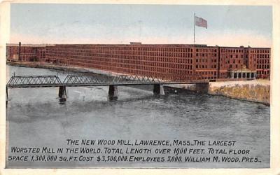 The New Wood Mill Lawrence, Massachusetts Postcard
