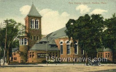 First Baptist Church` - Malden, Massachusetts MA Postcard