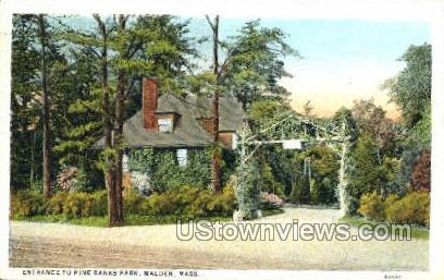 Entrance, Pine Banks Park - Malden, Massachusetts MA Postcard
