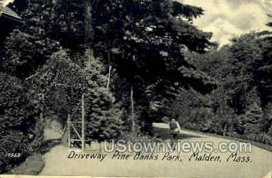 Driveway, Pine Banks Park - Malden, Massachusetts MA Postcard