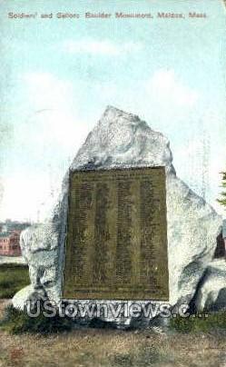 Sailors Bowlder Monument - Malden, Massachusetts MA Postcard