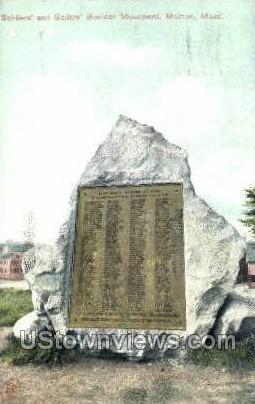 Soldiers & Sailors Bowlder - Malden, Massachusetts MA Postcard