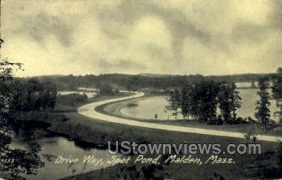 Drive Way, Spot Pond - Malden, Massachusetts MA Postcard