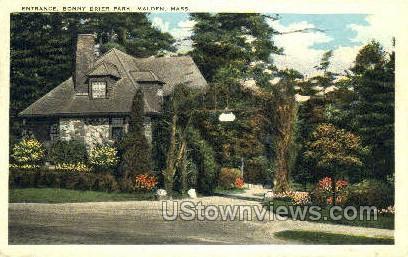 Entrance, Bonny Brier Park - Malden, Massachusetts MA Postcard