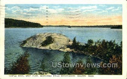 Turtle Rock, Spot Pond - Malden, Massachusetts MA Postcard