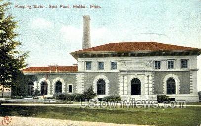 Pumping Station, Spot Pond - Malden, Massachusetts MA Postcard