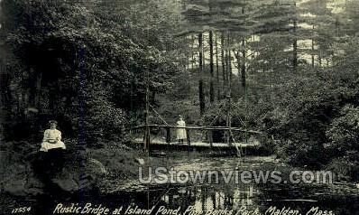 Rustic Bridge, Pine Banks Park - Malden, Massachusetts MA Postcard