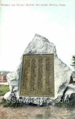 Sailors Boulder Monument - Malden, Massachusetts MA Postcard