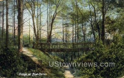 Bridge, Pine Banks Park - Malden, Massachusetts MA Postcard