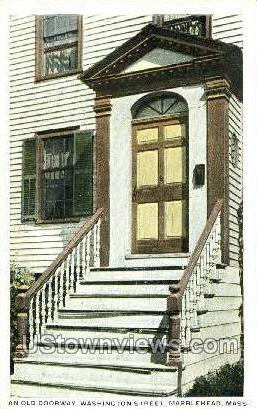And Old Doorway, Washington St. - Marblehead, Massachusetts MA Postcard