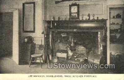 Kitchen Fireplace, Lee Mansion - Marblehead, Massachusetts MA Postcard