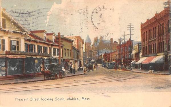 Pleasant Street Malden, Massachusetts Postcard